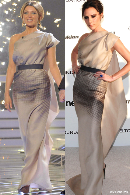 Who wore it best? Dannii Minogue vs. Victoria Beckham - style, snap, matching, same, dress, VB, posh, frock, stars, celebrities, wearing, x factor, Marie Claire