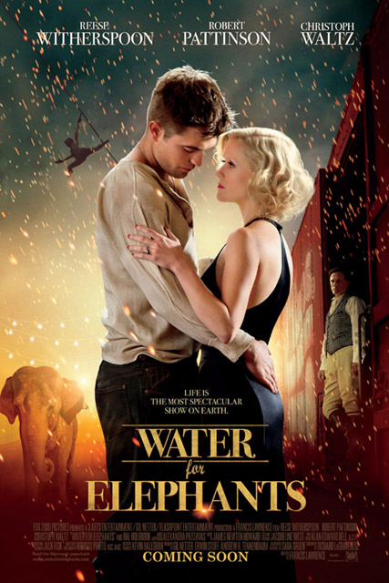 Water for Elephants Movie poster - Robert Pattinson, Reese Witherspoon, Marie Claire