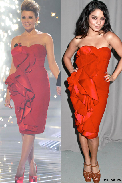 Who wore it best? Dannii Minogue vs. Vanessa Hudgens - Marchesa, style, snap, same, dress, dresses, X Factor, new york fashion week, Marie Claire